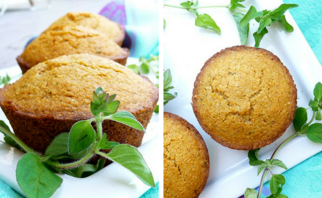 gluten free, vegan, refined sugar free herbed corn muffins